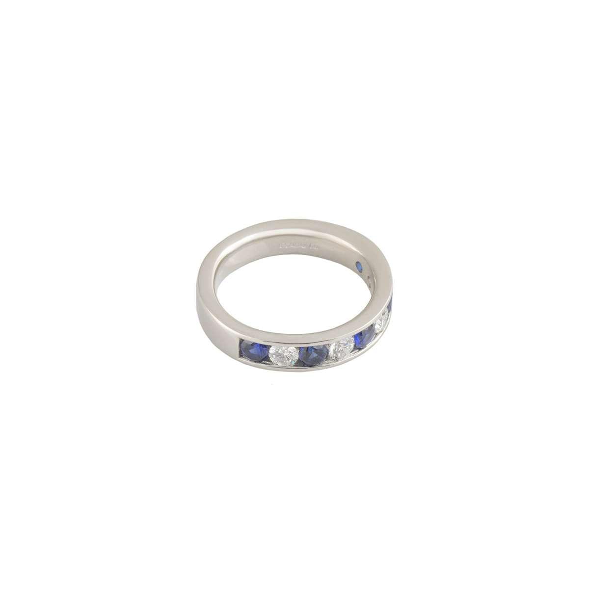 Platinum Diamond and Sapphire Half Eternity Ring